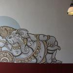 Ganesha muurschildering door Atelier Aandacht
